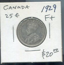 CANADA - BEAUTIFUL GEORGE V SILVER 25 CENTS, 1929