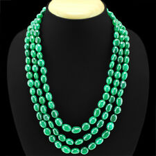 TOP QUALITY EVER 651.00 CTS NATURAL 3 LINE GREEN EMERALD OVAL BEADS NECKLACE