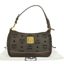 tm3164 Authentic MCM Vintage Old Hand Bag Pouch Canvas Leather Brown Germany