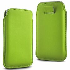 For Panasonic Eluga Power - Green PU Leather Pull Tab Case Cover Pouch