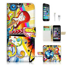 iPhone 7 (4.7') Flip Wallet Case Cover P0377 Guitar Music