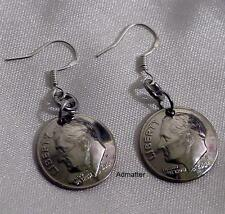 1982 35th BIRTHDAY DOMED DIME EARRINGS 925 SILVER FRENCH HOOKS ANNIVERSARY GIFT!