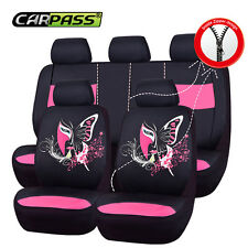 Unviversal Pink black Car seat covers Set For 50/50 40/60 Cup holder For woman