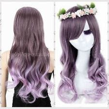 Hot Sell~Stylish Ladies Long Curly Wigs Anime Purple Ombre Hair Women Wavy Wig