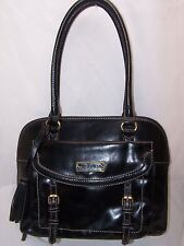 Tignanello Distressed Vintage Leather RFID Dome Satchel Handbag BLACK