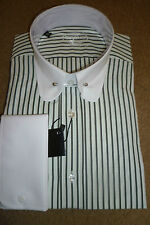 "MENS CHARCOAL/WHITE STRIPED COLLAR PIN SHIRT sizes 15,15.5,16.5 &17.5"" only"