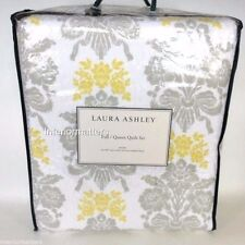 LAURA ASHLEY Tatton 3pc QUEEN QUILT SET GRAY YELLOW  grey Damask Floral new