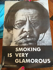 Vintage 1969 American Cancer Society Smoking Is Glamorous Propaganda Poster