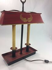 Antique Red Metal w/Shade Electric Candle Lamp,Table, Desk, Vintage