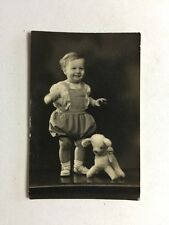 Vintage Real Photograph - #W - Little Boy Romper Suit Standing With Toy Dog