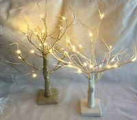 Champagne Gold Glitter White 50cm Light Up Twig Tree Battery LED Wedding Table