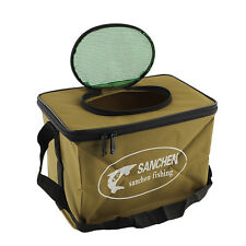 Durable Foldable Fabric Portable Canvas Fish Bucket for Fishing Outdoors S Size