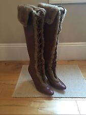MANOLO BLAHNIK Women's Fur Lined Knee High Boots ITALY 8.5 39 RETAIL $1895 NWT