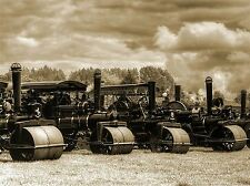 VINTAGE STEAM ROLLERS SEPIA PHOTO ART PRINT POSTER PICTURE BMP525A