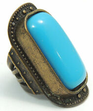 Vintage Sz 7.25 Ring w/ Large Squared Off Oval Light Blue Stone Bold Brass Tone