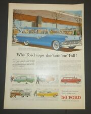 Original Print Ad 1956   FORD Parklane Station Wagon Ranch Country Squire