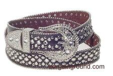Western Rhinestone Crystal Bling Stud Brown Snap on Buckle Leather Belt M SM