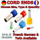 Insulated Cord End Terminals French German Twin Entry Ferrule Bootlace Terminal