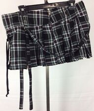 Tripp NYC Large Hot Topic Plaid Mini Skirt Goth Zippers Lace Up Sexy Schoolgirl