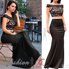 Womens Evening Dress Maxi Ball Gown Prom Party Formal Long Black Lace Size 12,14