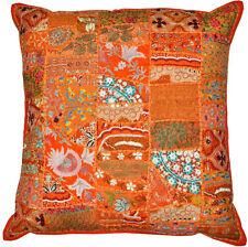 """24x24"""" Vintage Bohemian Indian throw Pillow Orange decorative gypsy throw pillow"""