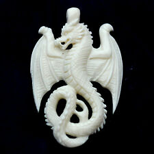 Pendent PBJ064 bone dragon hand carved organic Bone NECKLACE