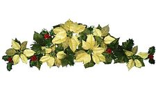 """Gold Poinsettia 35"""" Swag Garland Christmas Decor Artificial Flower Home Office"""