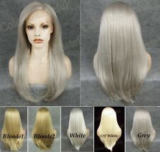 "24"" front lace long straight light gray blonde golden white synthetic wig"