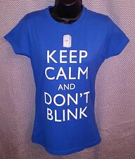 Doctor Who Keep Calm and Don't Blink Blue T-Shirt NWT - Womens Small