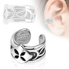 Four Leaf Shamrock Rhodium Plated Brass Non Piercing Cartilage Ear Cuff Ring