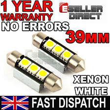 ERROR FREE CANBUS 3 SMD LED 39mm 264 C5W XENON WHITE NUMBER PLATE LIGHTS BULBS