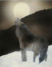 ACEO Miniature Picture Art Trading Card Wildlife Wolf Nature Moon Snow Howling