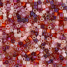 Miyuki Delica Seed Beads 3mm Size 8/0 Mix Strawberry Fields 6.8g Tube (J103/10)