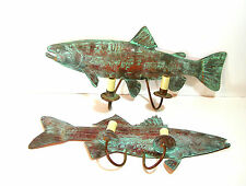 Verdigris Copper Fish Shaped Wall Sconces, Hardwire, Cabin Or Lake House Decor