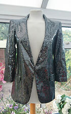 RIVER ISLAND PEWTER SILVER SEQUINED METALLIC LOOK BLAZER JACKET SIZE 6 BNWT
