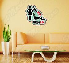 "Happy Wife Life Husband Marriage Funny Wall Sticker Room Interior Decor 22""X22"""