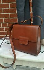 "Perry Ellis Fashion Leather Handbag Purse Satchel 4"" x 8"" x 9"" Brown"