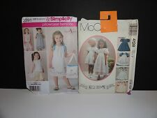 SIMPLICITY 2391 MCCALLS 4128 DRESS PATTERNS UNCUT GIRL'S 3 PILLOWCASE