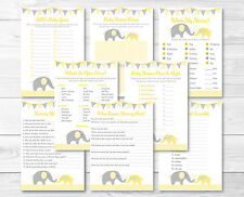 Yellow Chevron Elephant Baby Shower Games Pack - 8 Printable Games