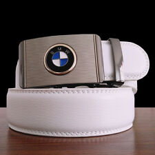 "110CM(44"") Men Leather Belts BMW Automatic Buckle Fashion White Jeans Waist Belt"