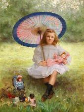 Oil painting Hand painted girl holding Parasol & her favourite dolls in garden