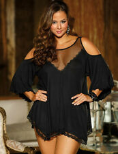 Plus Size Black Cold Shoulder Nightie  Babydoll Chemise Lingerie Size UK 16-18