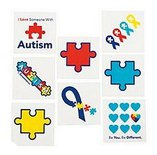 Autism Awareness TATTOOS Puzzle Piece Ribbon Asperger Syndrome Lot of 36