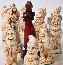LARGE SNOW WHITE CHESS SET - HAND CRAFTED IN CASTING STONE - (rosewood) 704