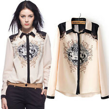 Women Chiffon Floral Print Lapel Shirt Long Sleeve Casual Tops Blouse SIZE S