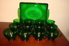 Lot Of Vintage Forest Green Set Of 12 Cups & Avon Oblong Tray No Saucers
