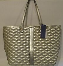 REBECCA MINKOFF Quilted Everywhere Pewter Leather Tote Handbag   NEW