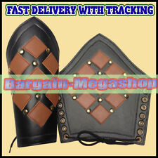Leather Studded Medieval Bracer Pair Gauntlet Arm Guard LARP Armour SCA  a1