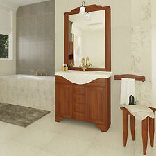 Mobile da bagno in arte povera cm 85 con 3 ante lavabo e applique arredo country