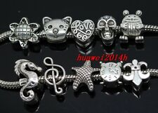Wholesale 100pcs Tibetan Silver Bulk Lots big hole Mix Beads Fit Charm Bracelet